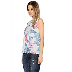 Quiz - Flower Print Chiffon Bubble Top