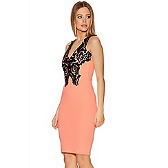 Quiz - Coral Crochet V Neck Midi Dress