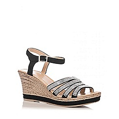 Quiz - Black Faux Suede Multi Strap Wedges