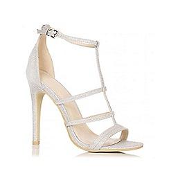 Quiz - Silver Shimmer 3 Strap T-Bar Sandals