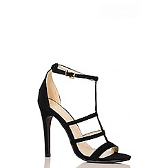 Quiz - Black Faux Suede 3 Strap T-Bar Sandals