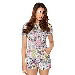 Quiz - Pink And Lemon Crepe Flower Print Playsuit