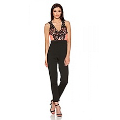 Quiz - Coral Contrast Lace V Neck Jumpsuit