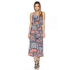 Quiz - Coral And Navy Tile Print Culotte Jumpsuit