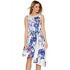 Quiz - Cream And Blue Flower Print Asymmetrical Dress