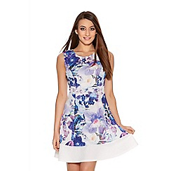 Quiz - Cream And Blue Flower Print Flippy Dress