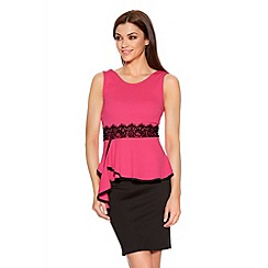 Quiz - Pink And Black Crepe Lace Trim Peplum Dress