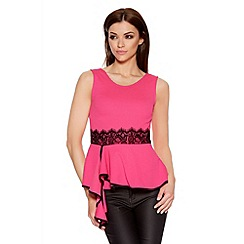 Quiz - Pink And Black Crepe Lace Trim Peplum Top