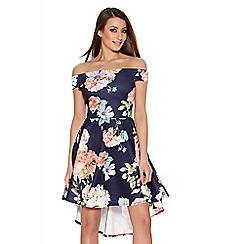 Quiz - Navy And Coral Flower Print Bardot Dress