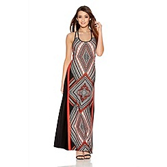 Quiz - Coral And Black Geometric Print Strap Maxi Dress