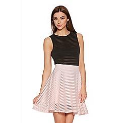 Quiz - Pink Mesh Stripe Skater Skirt