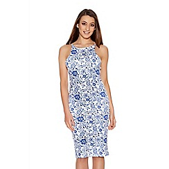 Quiz - Blue And White China Print Midi Dress