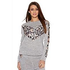 Quiz - Grey Leopard Print Sweatshirt