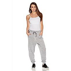 Quiz - Grey Leopard Print  Jogging Trousers