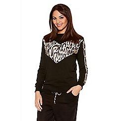 Quiz - Black Leopard Print Sweatshirt