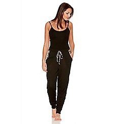 Quiz - Black Leopard Print  Jogging Trousers