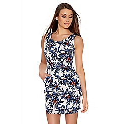 Quiz - White And Blue Flower Print Skater Dress