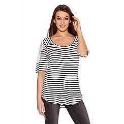 Quiz - White And Navy Stripe Lace Cold Shoulder Top