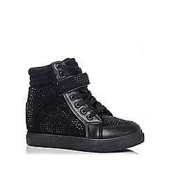 Quiz - Black Diamante Hi Top Trainers