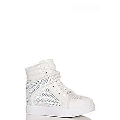 Quiz - White Diamante Hi Top Trainers