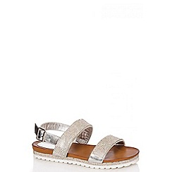 Quiz - White Diamante Thick Strap Sandals