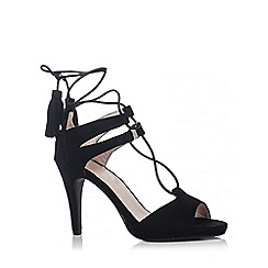 Quiz - Black Faux Suede Lace Up Tassel Sandals