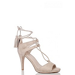 Quiz - Nude Faux Suede Lace Up Tassel Sandals
