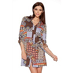 Quiz - Orange Blue And Cream Tile Print Shirt Dress
