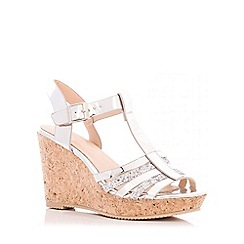 Quiz - Silver Metallic Glitter Strap Wedges