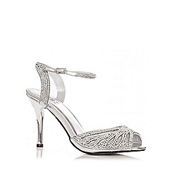 Quiz - Silver Diamante Heel Strap Sandals