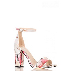 Quiz - Cream Butterfly Block Heel Sandals