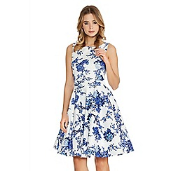 Quiz - White And Blue China Print Skater Dress