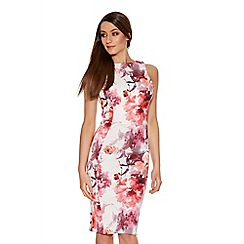 Quiz - Cream Pink And Coral Flower Print Strap Dress