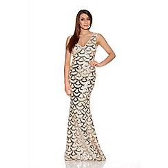 Quiz - Champagne Scallop Sequin Fishtail Maxi Dress