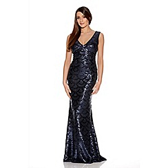Quiz - Navy Scallop Sequin Fishtail Maxi Dress