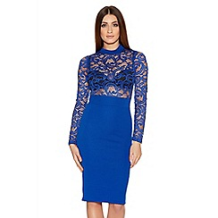 Quiz - Royal Blue Lace Long Sleeve Ribbed Midi Dress