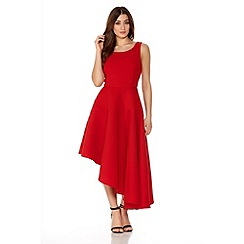 Quiz - Red Ribbed Asymmetrical Hem Dress