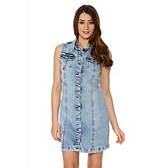 Quiz - Denim Sleeveless Button Front Dress