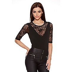 Quiz - Black Crepe Lace 3/4 Sleeve Bodysuit