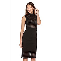 Quiz - Black Mesh Turtle Neck Panel Midi Dress