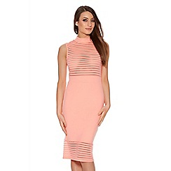 Quiz - Coral Mesh Turtle Neck Panel Midi Dress