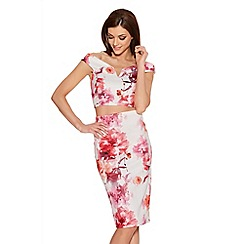 Quiz - Cream Pink And Coral Flower Print Midi Skirt