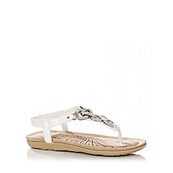 Quiz - White Diamante Chain Sandals