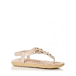 Quiz - Beige Diamante Chain Sandals