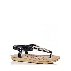 Quiz - Black Diamante Chain Sandals