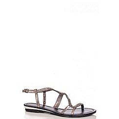 Quiz - Black Diamante Flat Sandals