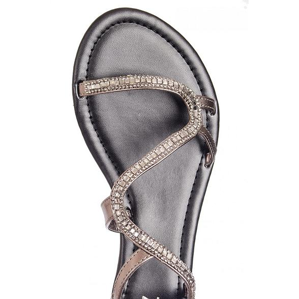 Quiz Black Diamante Sandals image - Debenhams