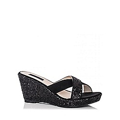 Quiz - Black Glitter Cross Strap Wedges