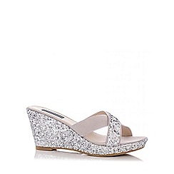 Quiz - Silver Glitter Cross Strap Wedges
