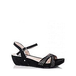 Quiz - Black Diamante Faux Suede Wedges